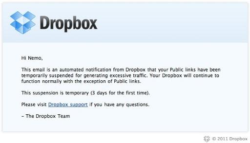 Epistola electronica a Dropbox missa