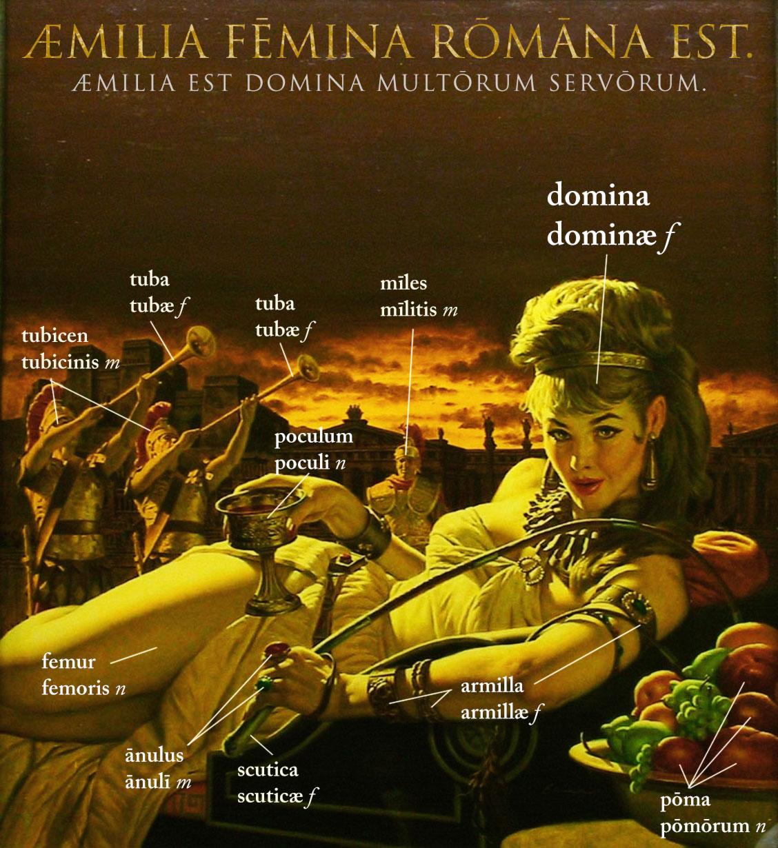 Æmilia fēmina Rōmana est. Æmilia est domina multōrum servōrum.