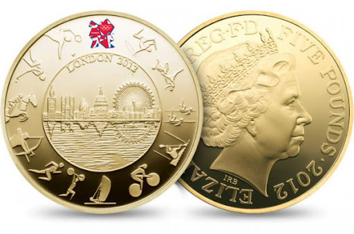 London 2012 olympic coins gold proof 5 pound